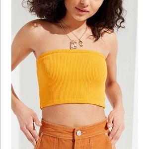 Urban Outfitters Strapless Tube Top Yellow X-Small